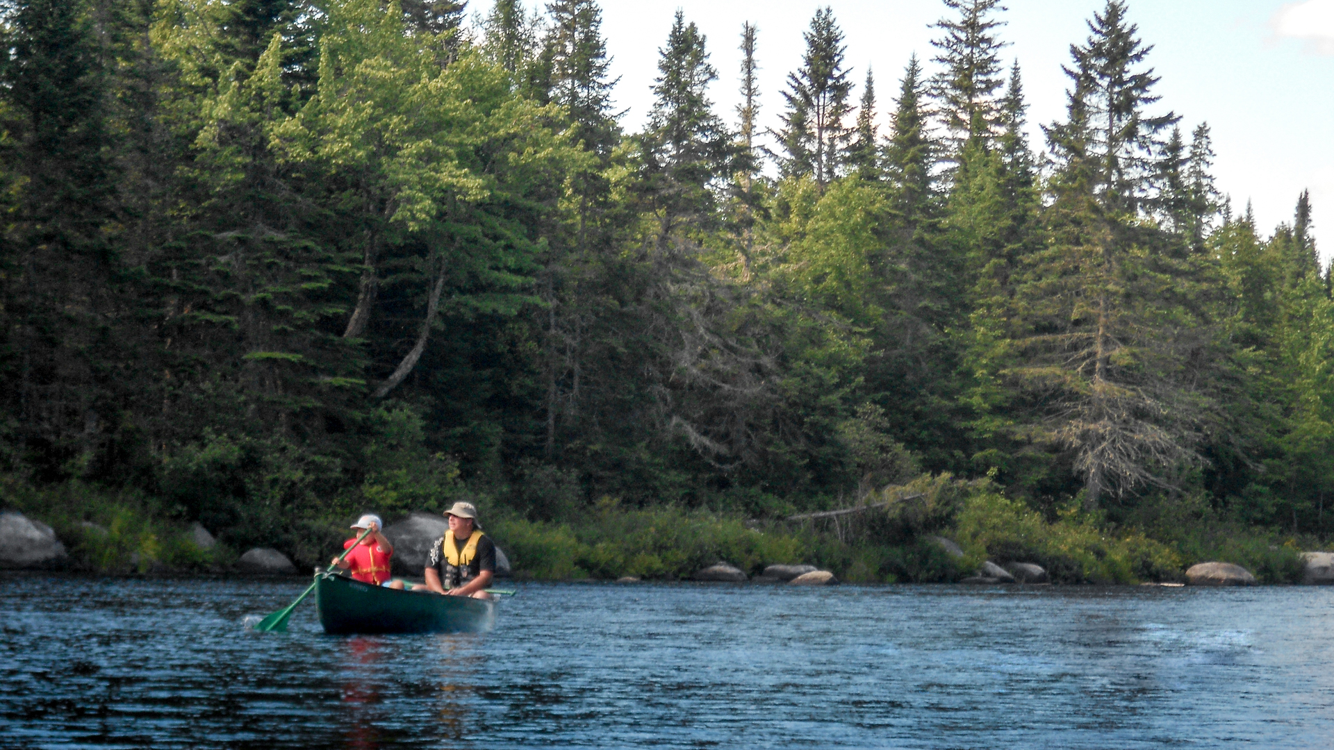 Canoeing the calm waters of Loon Bay
